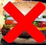 Ein durchgestrichener fettiger Burger